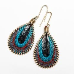 Goldtone Blue, Black and Brown Thread Earrings (India)