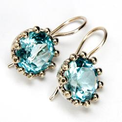 Sterling Silver Blue Topaz Earrings (India)