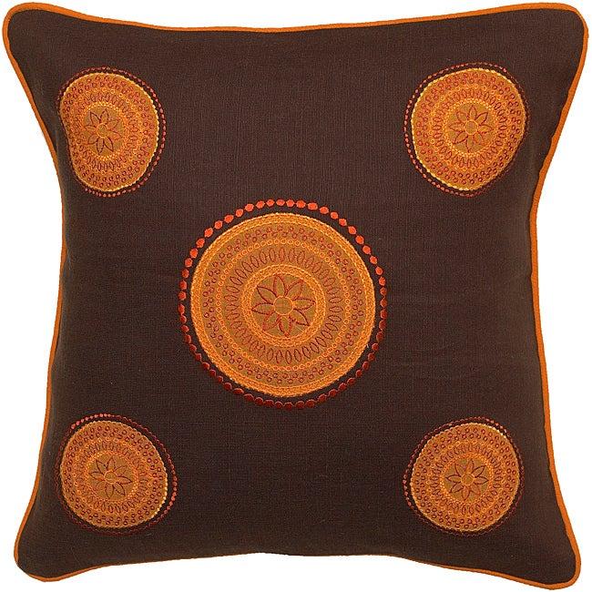 Shepparton Tribal Brown/Orange Down Filled Decorative Pillow