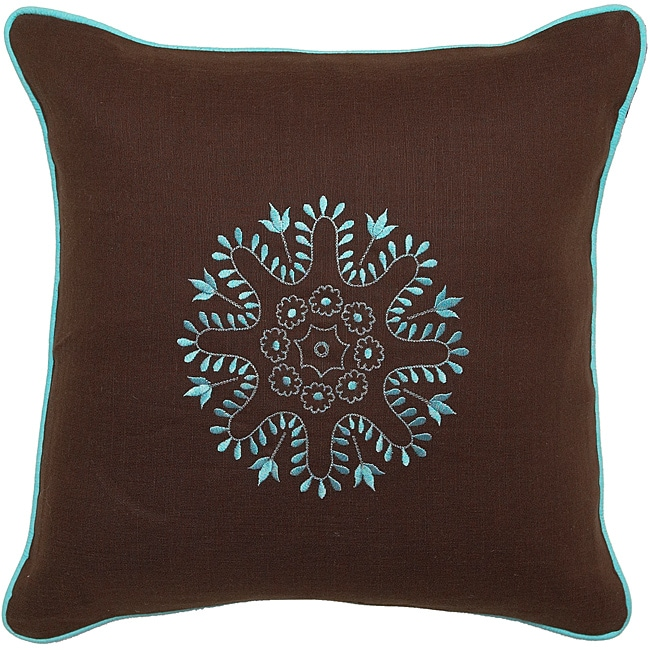 Gladstone Chocolate/ Turquoise Down Decorative Pillow - 14024210 - Overstock.com Shopping ...
