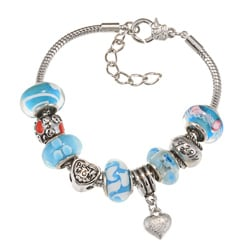 La Preciosa Silverplated Blue Glass Mom Bead Charm Bracelet