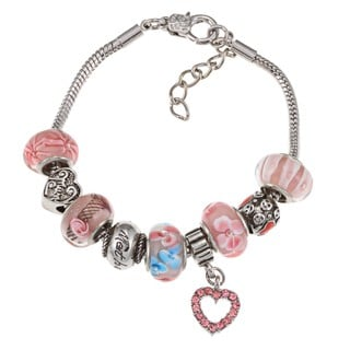 La Preciosa Silverplated Pink Glass Bead Mom Charm Pandora-style Bracelet