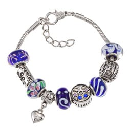 La Preciosa Silverplated Blue Glass Bead Charm Pandora-style Bracelet