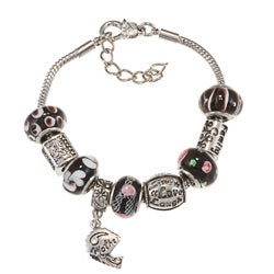 La Preciosa Silverplated Black Glass Bead Charm Pandora-style Bracelet