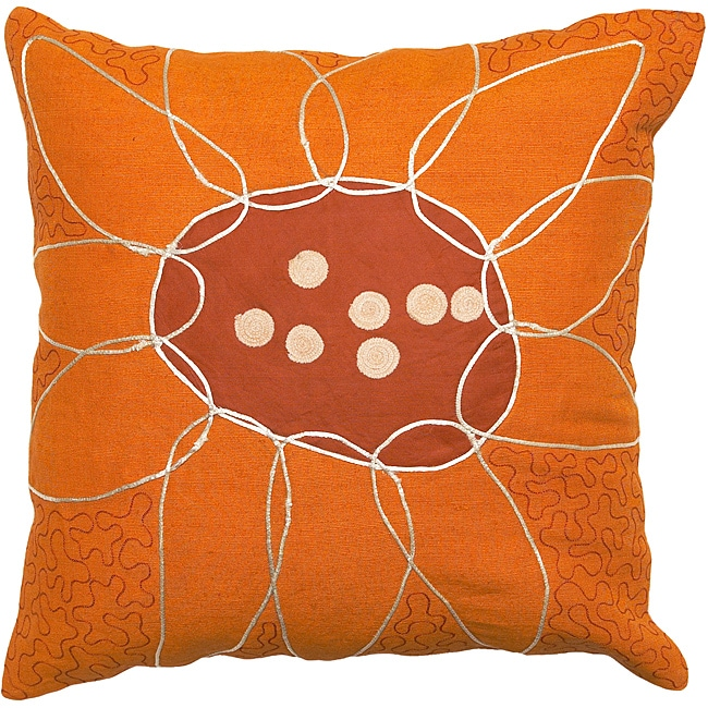 Mandurah Orange/ Red Flower Decorative Pillow - 14024214 - Overstock.com Shopping - Great Deals ...