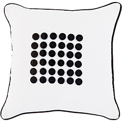 Cairns White/ Black Button Down Decorative Pillow