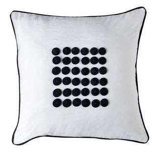 Cairns White/ Black Button Down Filled Decorative Pillow