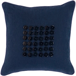 Sydney Navy/ Indigo Button Decorative Pillow