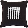 Canberra Black/ White Button Decorative Pillow