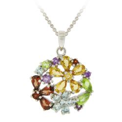 Glitzy Rocks Silver Multi-gemstone and Diamond Necklace (3 1/3ct TGW)