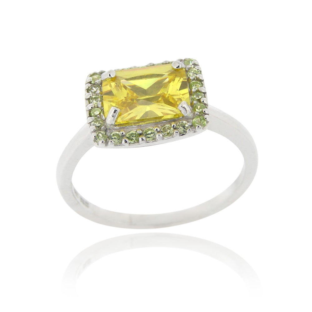 Icz Stonez Sterling Silver Light Yellow Cubic Zirconia Ring (10 7/8ct TCW)