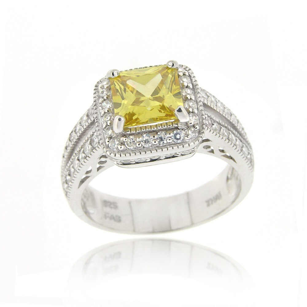Icz Stonez Sterling Silver Light Yellow Cubic Zirconia Ring (4 1/6ct TCW)
