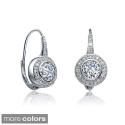 Collette Z Sterling Silver Clear Cubic Zirconia Leverback Earrings