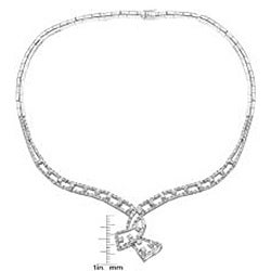 Collette Z Sterling Silver Clear Cubic Zirconia Detailed Drop Necklace