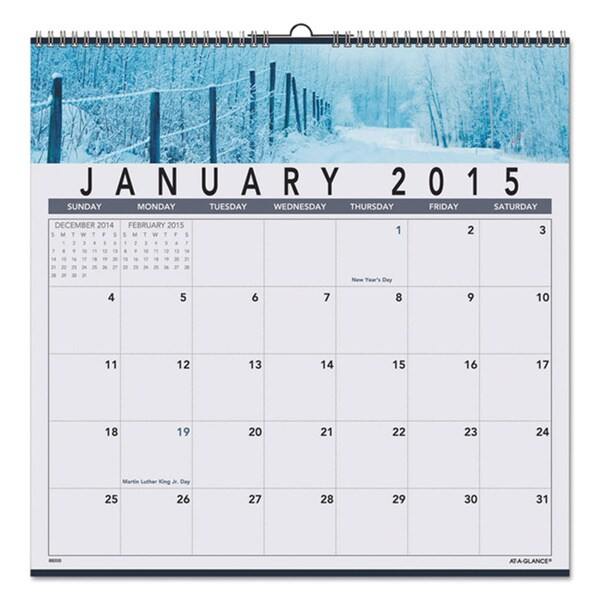 AT-A-GLANCE Visual Organizer Recycled Open Plan Landscape Wall Calendar