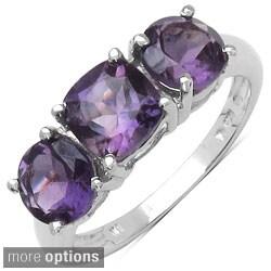 Malaika Sterling Silver Cushion-cut Gemstone 3-stone Ring