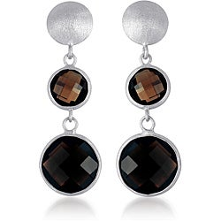 Collette Z Sterling Silver Smokey Quartz Matte Dangle Earrings