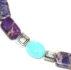 Silvertone Opal, Jasper and Variscite 'Summer Vineyard' Bracelet