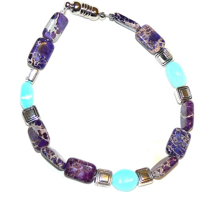 Silvertone Opal, Jasper and Variscite 'Summer Vineyard' Bracelet