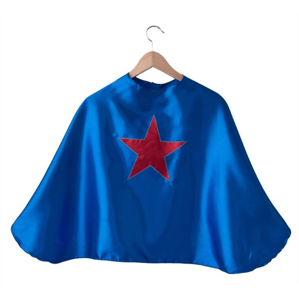 Blue Satin Red Star Superhero Cape