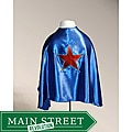 Blue Satin Red Star Superhero Cape