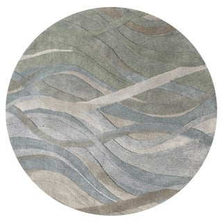 Alliyah Handmade Silver Grey, Highlight Grey/Green, and Light Rust New Zeeland Blend Wool Rug (6' Round)