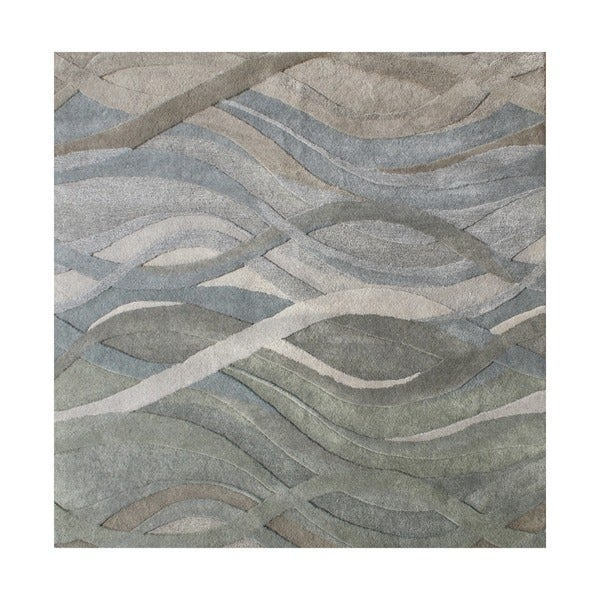 Alliyah Handmade Tufted Grey/ Green/ Light Rust New Zeeland Blend Classic Grey/ Green Wool Area Rug (6' x 6')