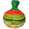 Medium Multi-Colored Pointed Lid Wicker Basket (Ethiopia)