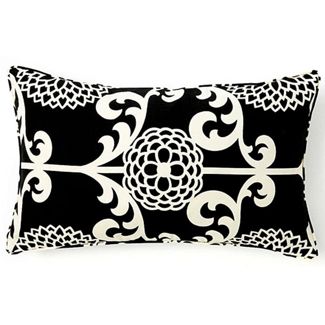 Floret Black Cotton Decorative Pillow