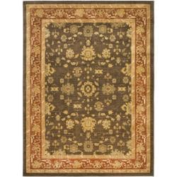 Oushak Brown/ Red Powerloomed Rug (6'7 x 9'1)