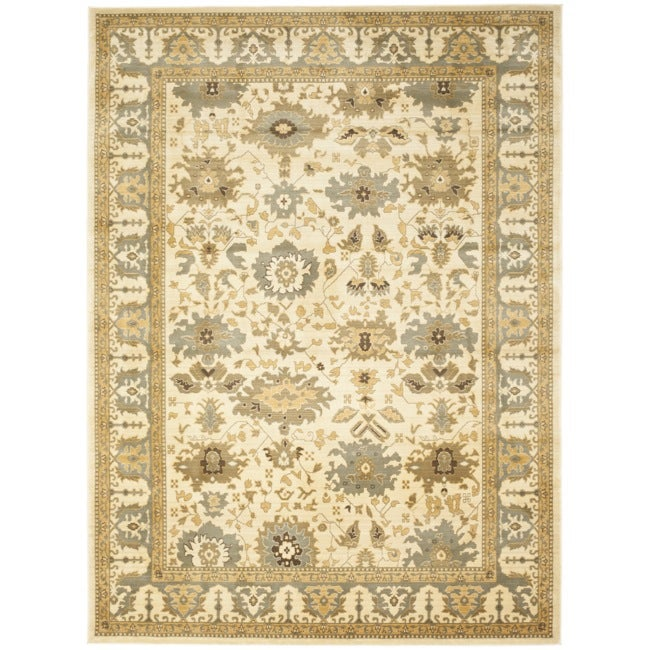 Safavieh Oushak Cream/ Blue Powerloomed Rug (6'7 x 9'1)