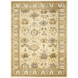 Oushak Cream/ Blue Powerloomed Rug (6'7 x 9'1)