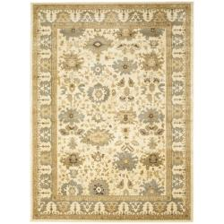 Oushak Cream/ Blue Powerloomed Rug (8' x 11')