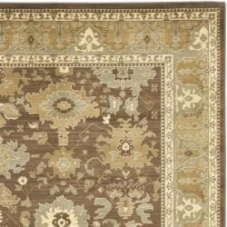 Oushak Brown/ Green Powerloomed Rug (8' x 11')