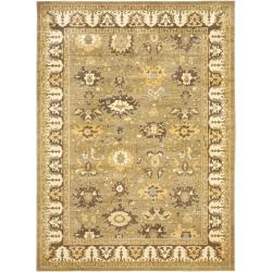 Safavieh Oushak Green/ Brown Powerloomed Rug (6'7 x 9'1)