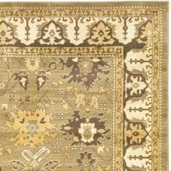 Oushak Green/ Brown Powerloomed Rug (8' x 11')