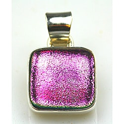 Sterling Silver Pink Dichroic Glass Pendant