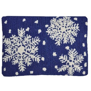 Snowflake Wool Hooked Decorative Pillow