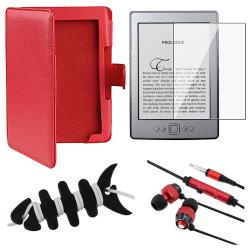 BasAcc Red Leather Case/ Protector/ Headset/ Wrap for Amazon Kindle 5