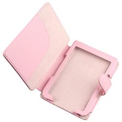 BasAcc Pink Leather Case/ Protector/ Headset/ Wrap for Amazon Kindle 4