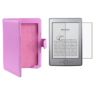 Purple Leather Case/ Screen Protector for Amazon Kindle 4