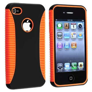 Orange TPU/ Black Plastic Hybrid Case for Apple iPhone 4/ 4S