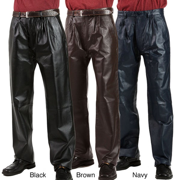 United Face Men's Pleated Leather Pants