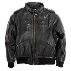 United Face Toddler Boy's Lambskin Leather Biker Jacket