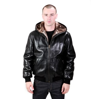 United Face Men's Reversible Hooded Lambskin Leather Jacket