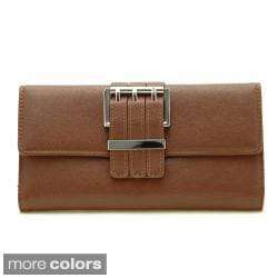 Dasein Faux Leather Buckled Checkbook Wallet