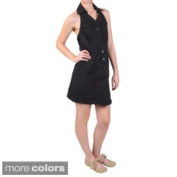 Ci Sono by Journee Junior's Ladies' Snap-Button Collared Twill Halter Jumper