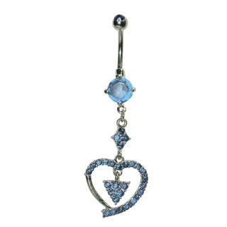 Supreme Jewelry Surgical Steel 14G Blue Cubic Zirconia Dangling Heart Belly Ring