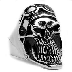 Oliveti Stainless Steel Cast Smiling Biker Skull Ring