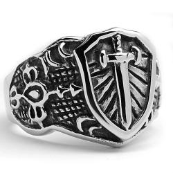Oliveti Stainless Steel Cast Cross Shield Ring